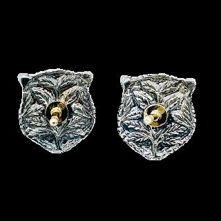 Boucles d'oreilles GUCCI Or jaune 18K et Argent Rubis, Topazes, Perles.