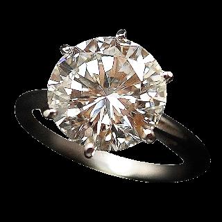 Solitaire en or 18k Diamant brillant de 4,54 Cts I-VS2 .