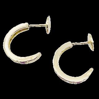 Boucles d'Oreilles Créoles en or jaune 18k massif avec rubis et diamants