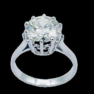 Solitaire en Or gris 18k avec Diamant de 3,12 Ct .K-P1 (HRD) .Taille 56.