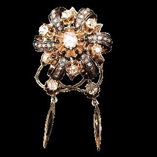 Broche Napoleon III à pampilles, Or 18 Carats , Diamants et émail noir