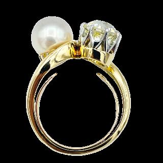 Bague toi et moi en Or jaune et Platine vers 1930 avec Diamant de 1.60 Cts L-VS