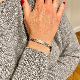 Bracelet Cartier Love 4 Diamants de 2008 Or gris 18K . Taille 17 .Full set