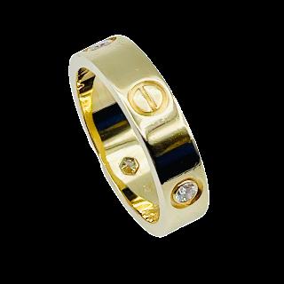 Bague Cartier Love Or jaune 18K et trois Diamants de 2019  Taille 61.