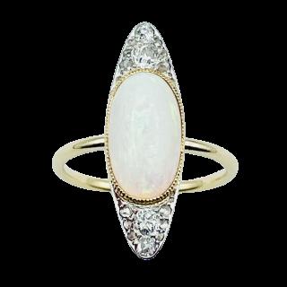 Solitaire en Or rose 18 Cts avec Diamant brillant 1.26 Cts J-SI1 + 0.35 Cts.