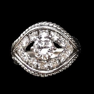 Bague Platine vers 1950, avec 1.20 Cts de Diamants.