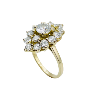 Solitaire Diamant brillant 0.41 Cts G-VS2 en Or 18 Cts + 0.13 Cts.