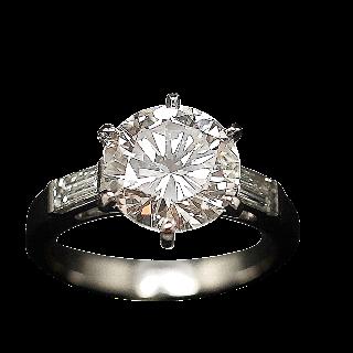 Solitaire en platine avec Diamant brillant 3.12 Cts E-SI1 + 0.39 Cts.