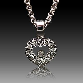 Collier Pendentif Chopard Happy Diamonds Or gris 18k Diamants .