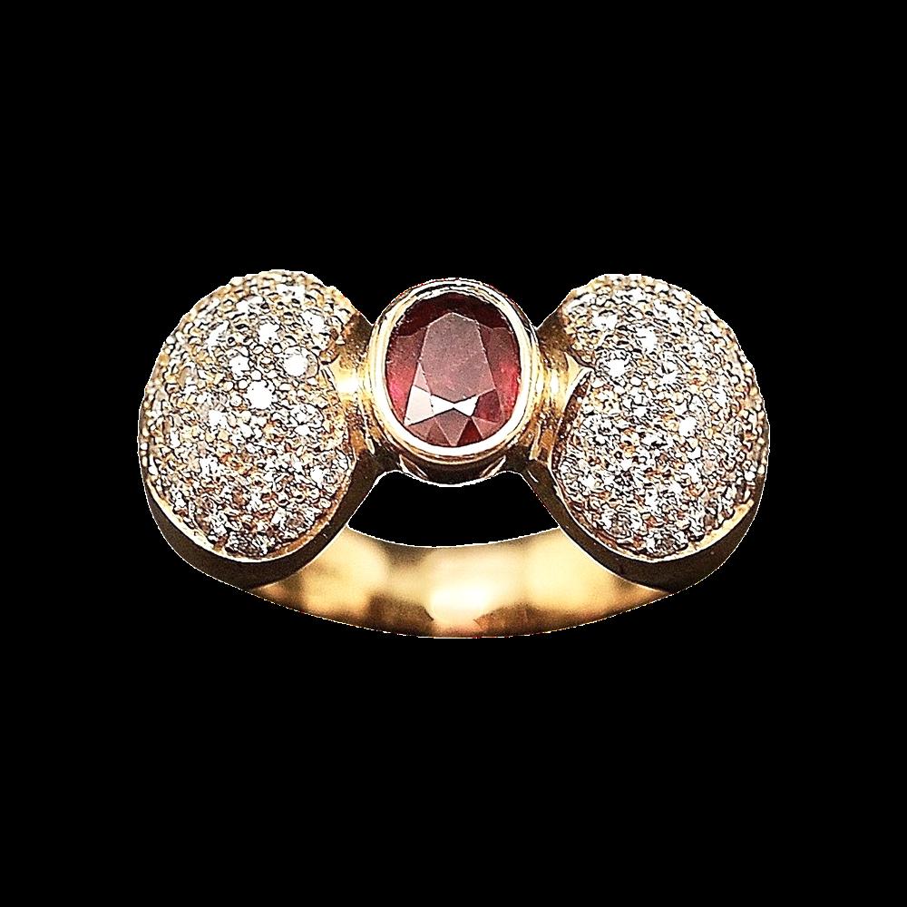Bague Or Jaune 18K, Rubis et Diamants brillants