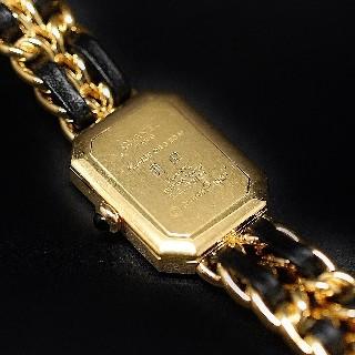Montre Chanel Premiere Plaqué or vers 1990 Quartz. Boite d'origine.