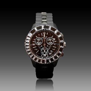 Montre Dior Christal 38 mm Onyx et Diamants Chronographe Quartz de 2012.