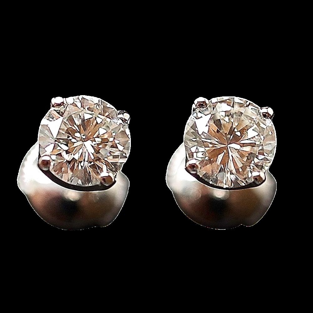 Puces d'oreilles Or gris 18k avec Diamants brillants 1.01 Cts et 0.98 Cts. F-VVS1-VS1.