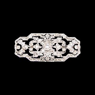 Broche en Or 18k et Platine Art Déco avec 2,80 Cts de Diamants.