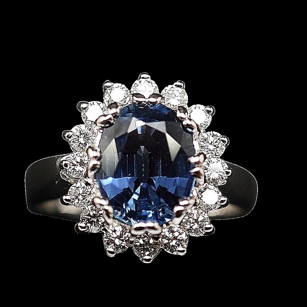Bague Saphir Siam  3,36 Cts + Diamants 0.68 Cts, Or gris 18k.