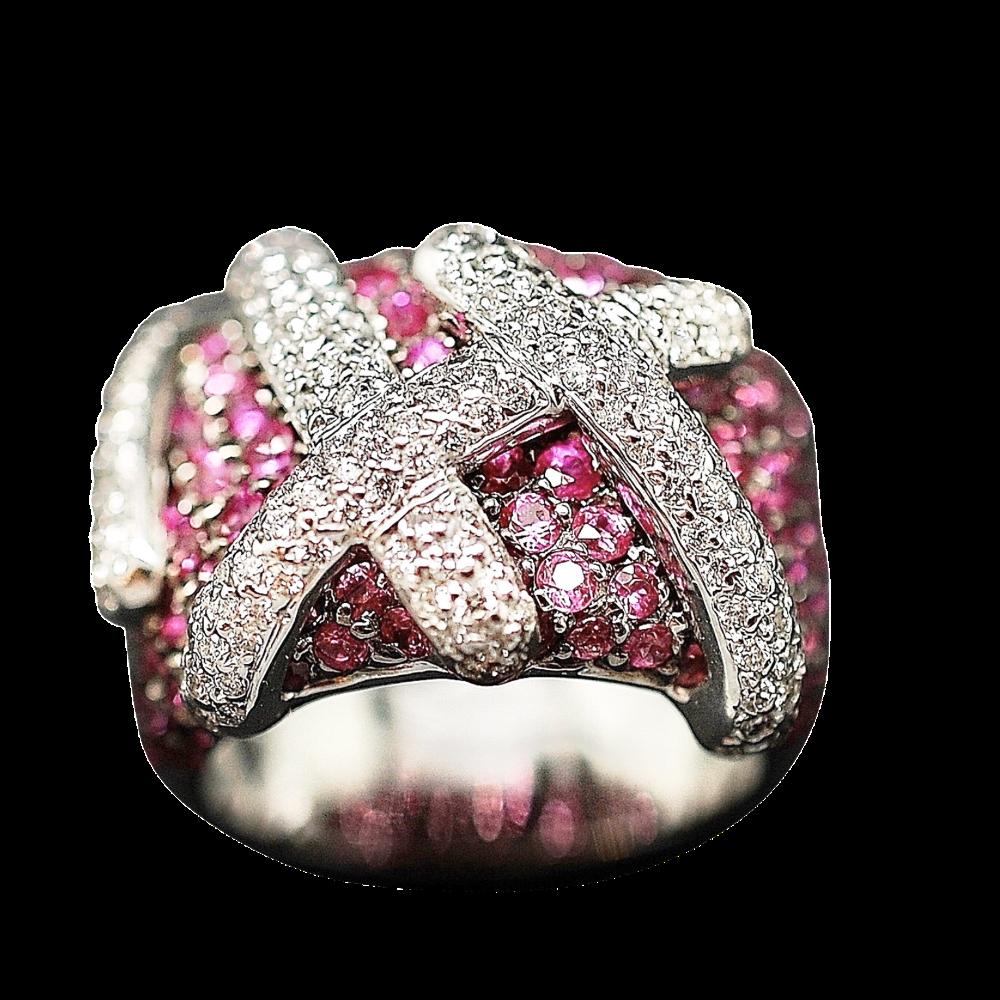 Bague en or gris 18k avec Saphirs roses et Diamants . Taille 48.