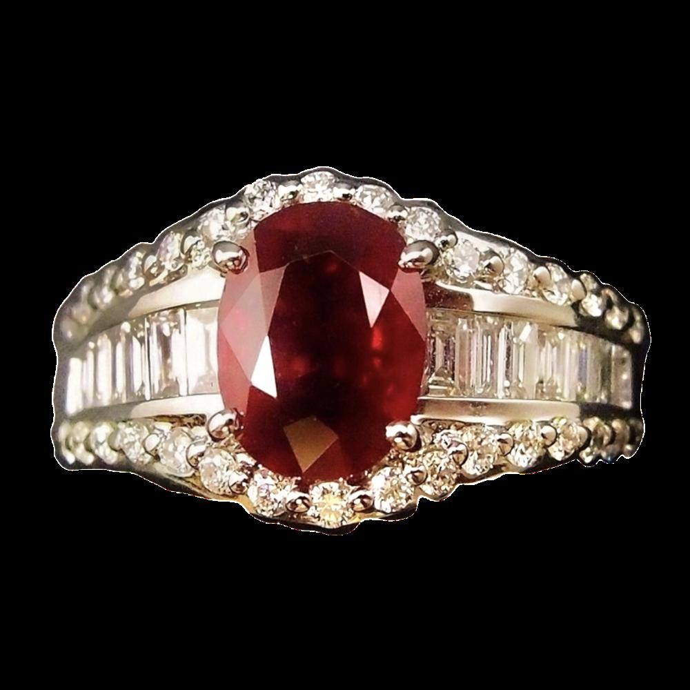 Bague Rubis Naturel 2.11 Cts et Diamants Extrablancs en Or 18k