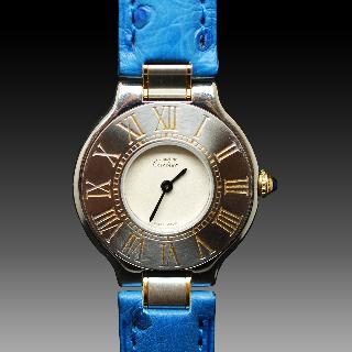 """Montre Cartier Dame """"Must 21"""" Or et acier Vers 1990 quartz 27 mm."""