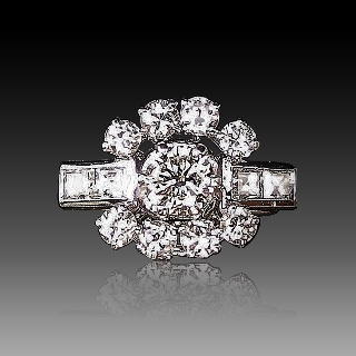 Bague en platine avec 1.30 carat de Diamants. Vers 1950