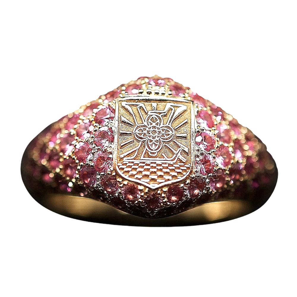 """Bague Vuitton collection """"Pharell Williams"""" avec saphirs roses. Taille 52."""
