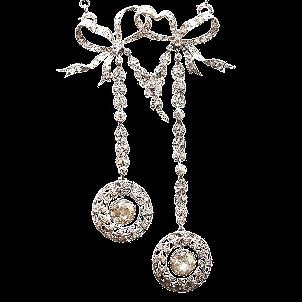 """Collier Pendentif  """"Négligé"""" en Or 18k et Platine Vers 1910 avec 5,0 Cts de Diamants."""