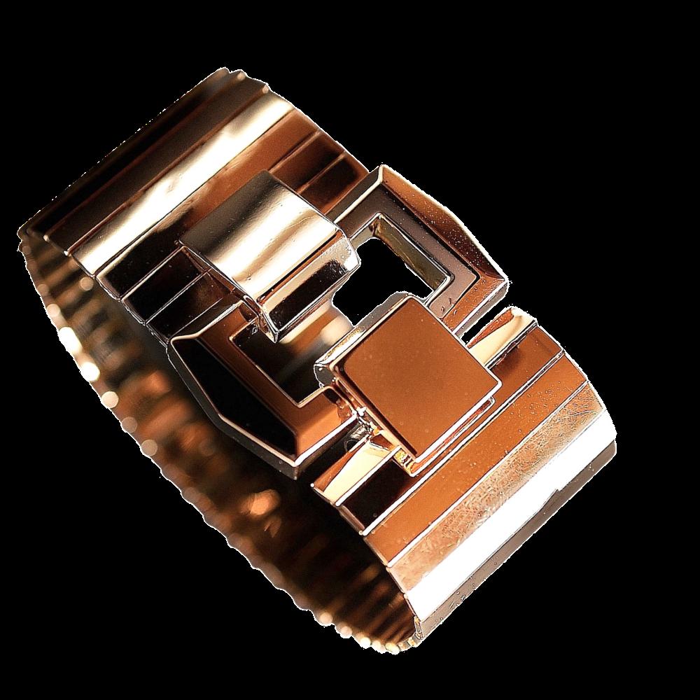 Bracelet Tank vers 1950 en or rose 18 carats. Poids : 92.60 Grs.