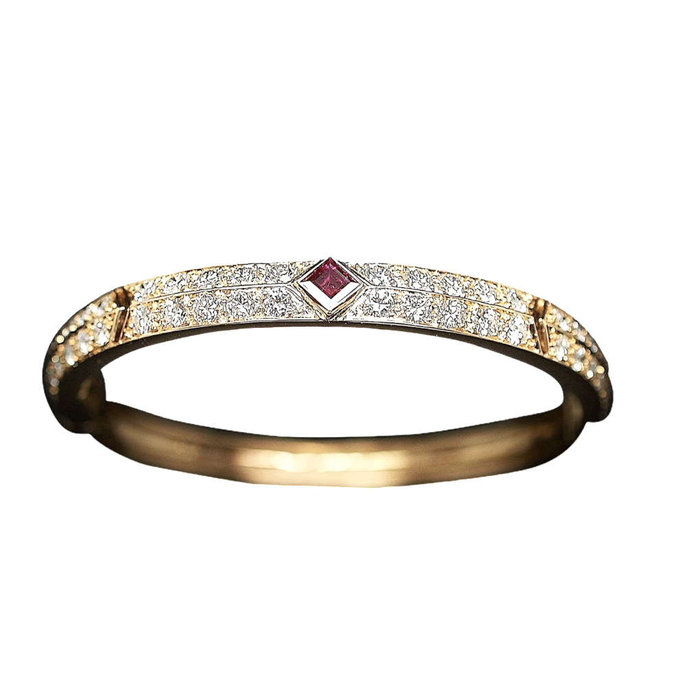 Bracelet Jonc rigide en Or 18k avec Rubis et Diamants.