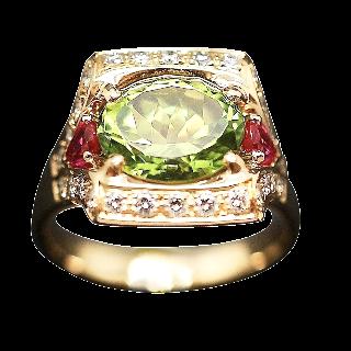 Bague Or Jaune 18K, Rubis et Diamants brillants et Péridot. Taille 55