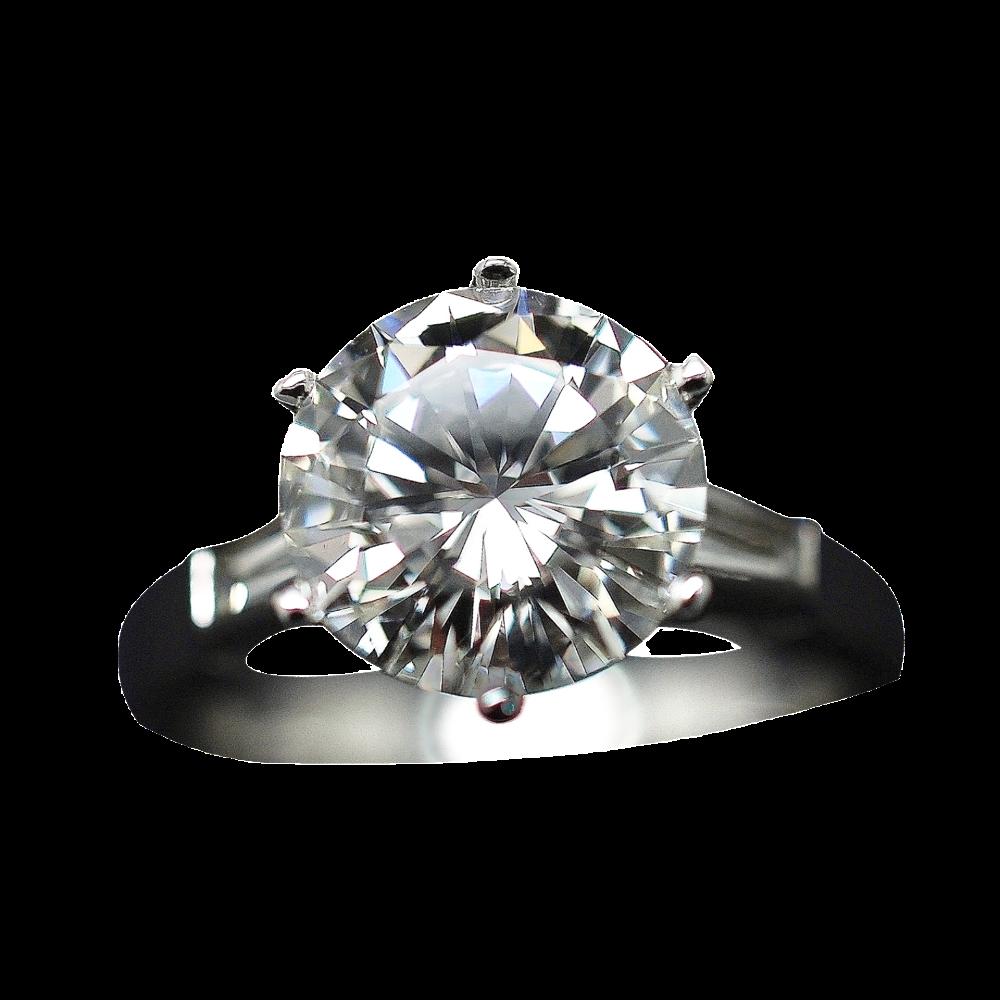 Solitaire en Or gris 18k avec Diamant brillant 2.66 Cts H-SI1 + 0.37 Cts.