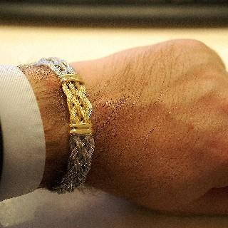 Bracelet Fred Force 10 en Or jaune 18k et Acier taille moyenne.