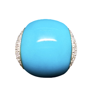 Bague en or gris 18k avec un composite bleu et Diamants brillants. Taille 52.