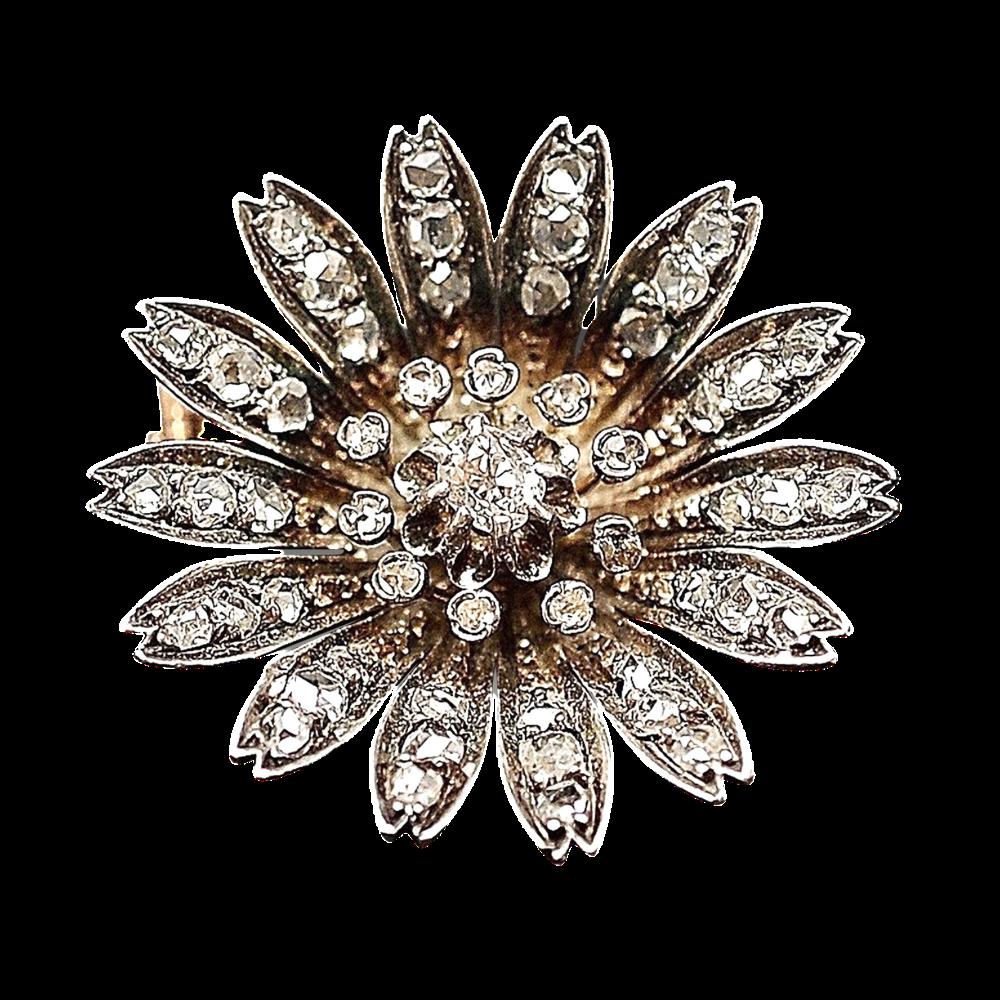 Broche en Or 18 Cts et Argent avec Diamants. Vers 1890