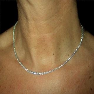 """Collier """"Rivière"""" Diamants 5.90 Cts G-VS en Or gris 18k"""
