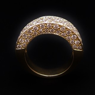 Bague Jonc Or Jaune 18K Avec 4 Cts De Diamants Brillants G-VS.