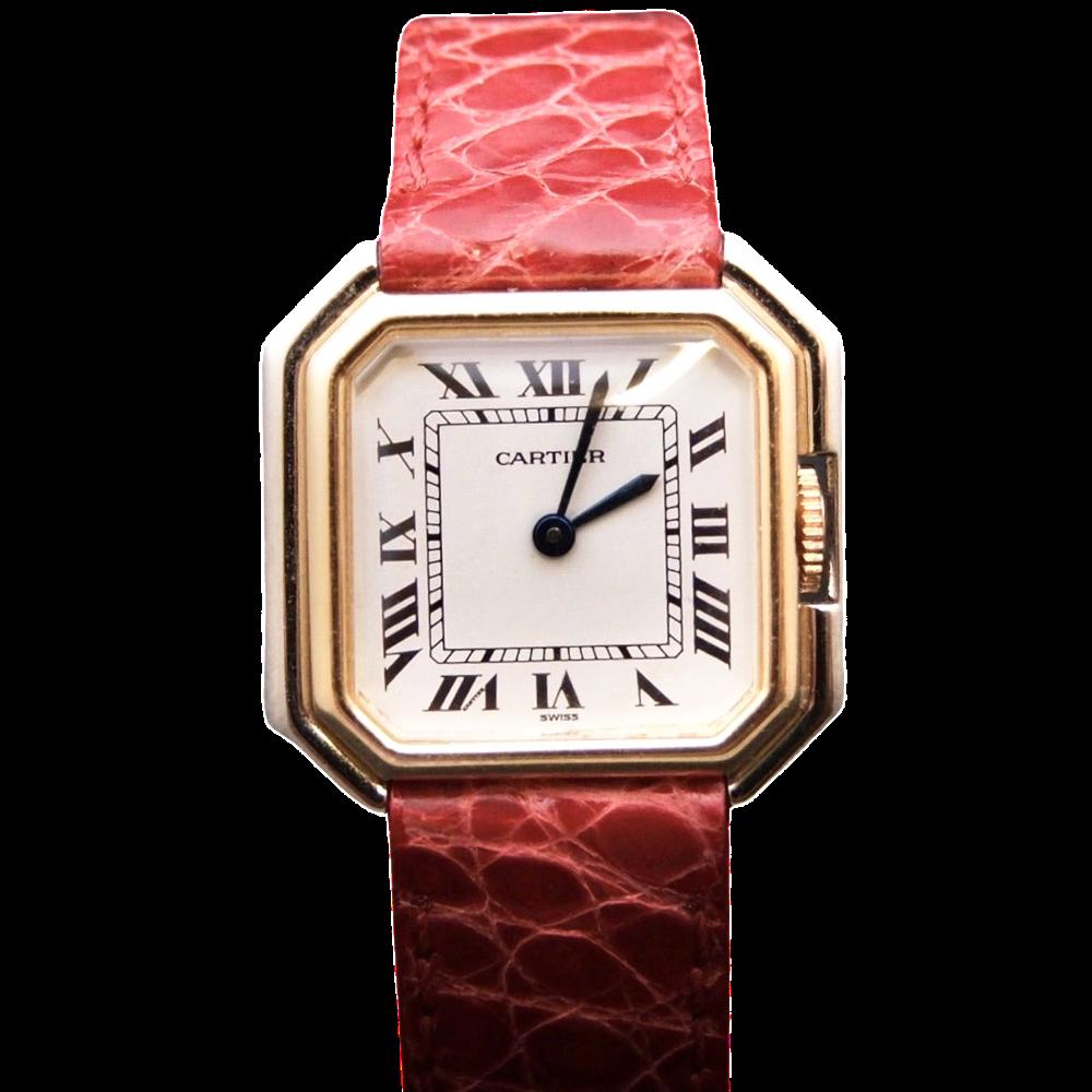 """Montre Cartier Dame """"Ceinture"""" Or Jaune et Gris 18k Vers 1980 Mécanique"""