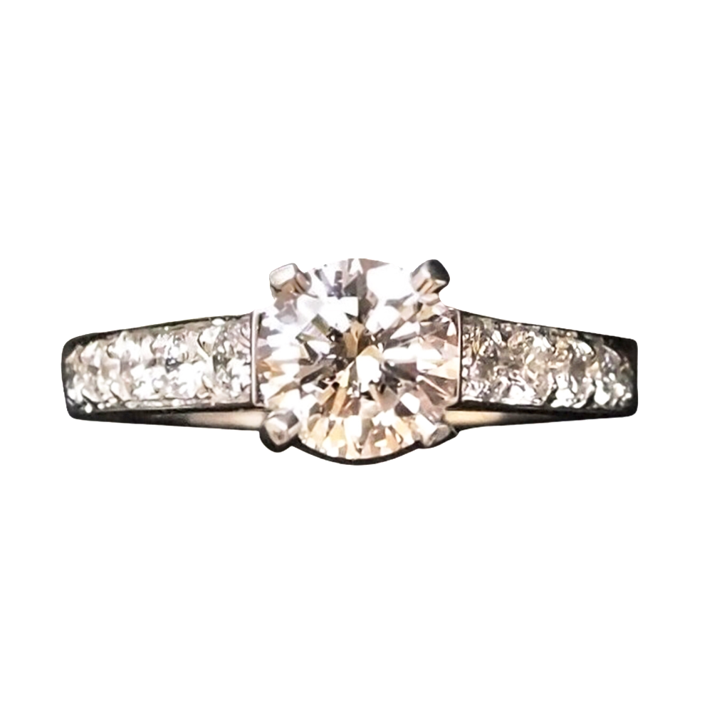Solitaire Diamant 0.98 Cts F-VVS1 en Or 18 Cts + 0.50 Cts.