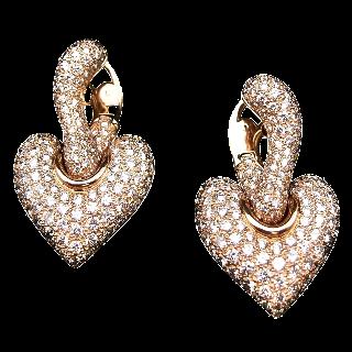 Boucles d'oreilles Boucheron Or jaune 18K et 290 diamants, 7 cts, commande spéciale