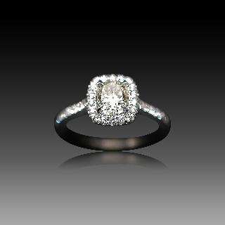 Solitaire Diamant taille Coussin de 1.09 Cts K-VS2. Or gris 18k .Taille 54.