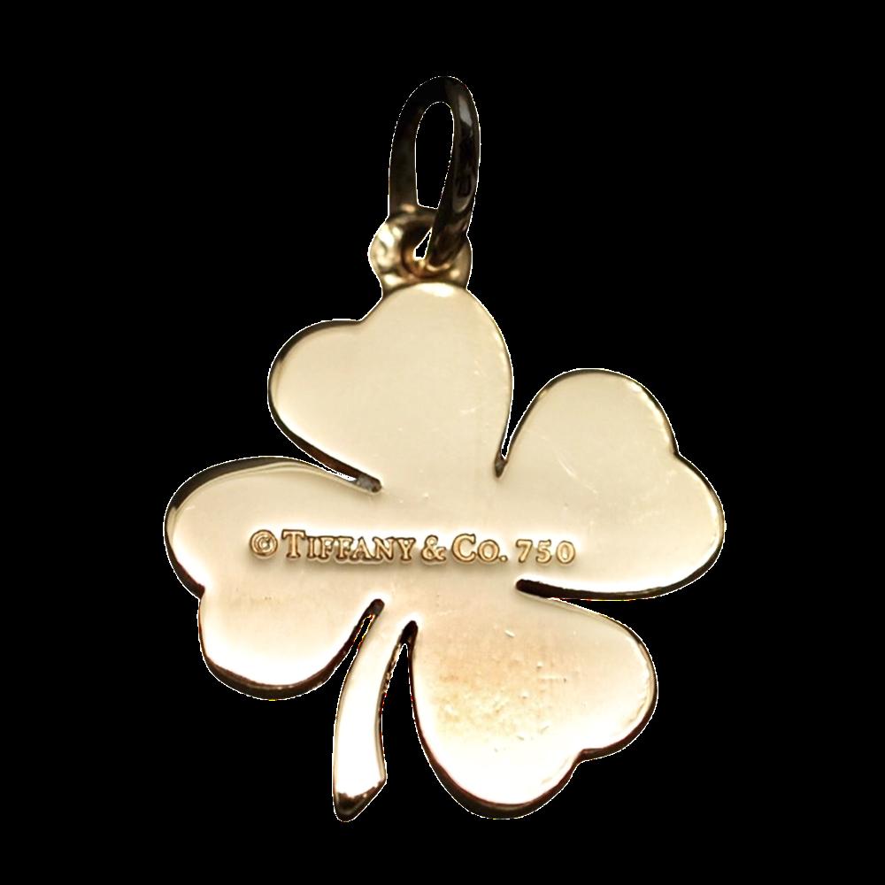 Pendentif  Tiffany & Co Charm Trèfle à quatre feuilles en  Or 18k massif.