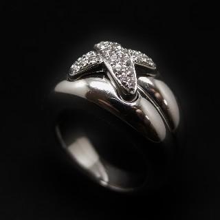 """Bague Chaumet """"Liens Taille XL"""" Double jonc or gris 18k diamants. taille 51."""