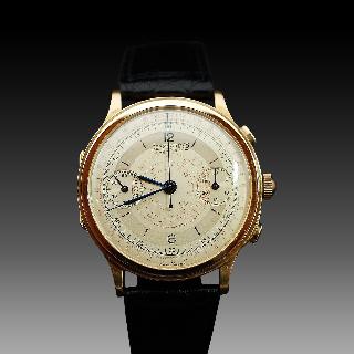Montre Eberhard Vintage Chronographe Mono poussoir Or jaune 18k mécanique Vers 1935.