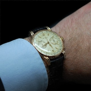 Montre Longines Vintage Chronographe Flyback Or rose 18k mécanique Vers 1945.