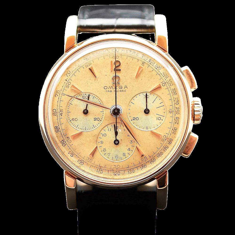 Montre Omega Vintage Chronographe Or rose 18k Mécanique Vers 1951.