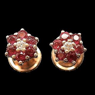 Boucles Oreilles Or 18 Cts avec Diamants et Rubis
