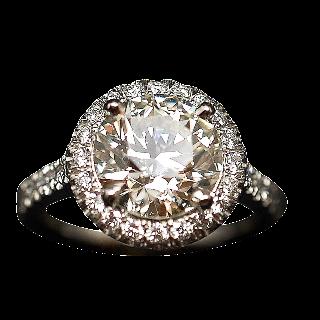 Solitaire en platine avec Diamant brillant 2.40 Cts J-VS2 + 0.40 Cts.