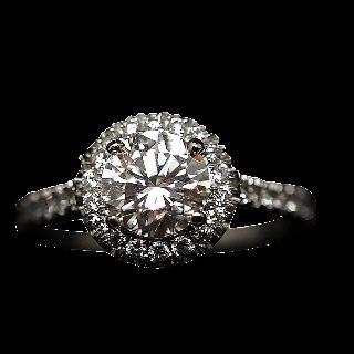 Solitaire en platine avec Diamant brillant 1.01 Cts G-VVS2 + 0.37 Cts.