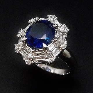 Bague Saphir Ceylan Non Chauffé 4,73 Cts + Diamants 1,70 Cts, Or 18k