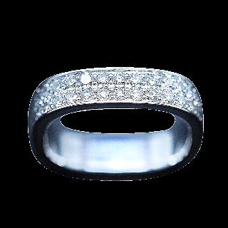 Alliance Dinh Van en or gris 18k Carrée 4 mm Diamants Brillants de 2015. Taille 48.