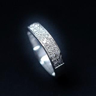 Alliance Dinh Van or gris 18k Carrée 4 mm Diamants Brillants de 2015. Taille 48.