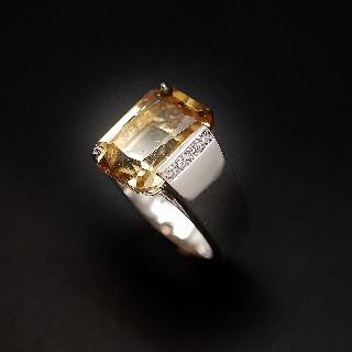 Bague Citrine et Diamants en Or gris 18k.Taille 54.